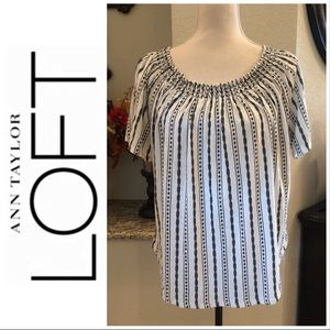 LOFT White and Navy Blouse